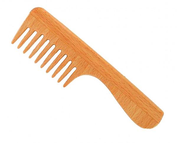 Holzkamm mit Griff, welliges und lockiges Haar, Buchenholz