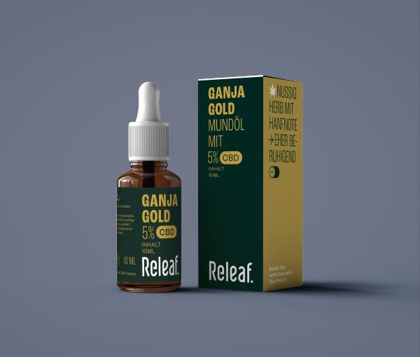 Releaf Ganja Gold 5% CBD, Mundpflegeöl, >300 Tropfen